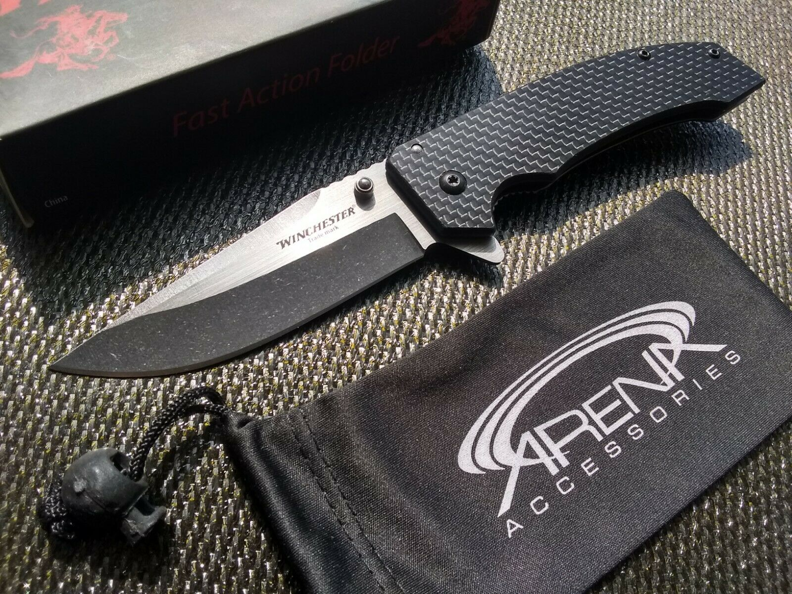 Winchester Real Carbon Fiber Frame LockPocket Knife EDC Flipper Blade Blue Liner