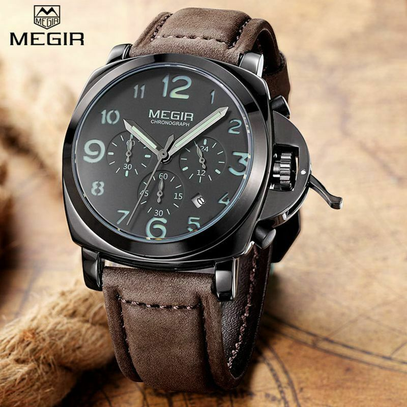 MEGIR 3406 Chronograph Quartz Mens Wrist Watch w/ Crown Lever Dark Brown Leather
