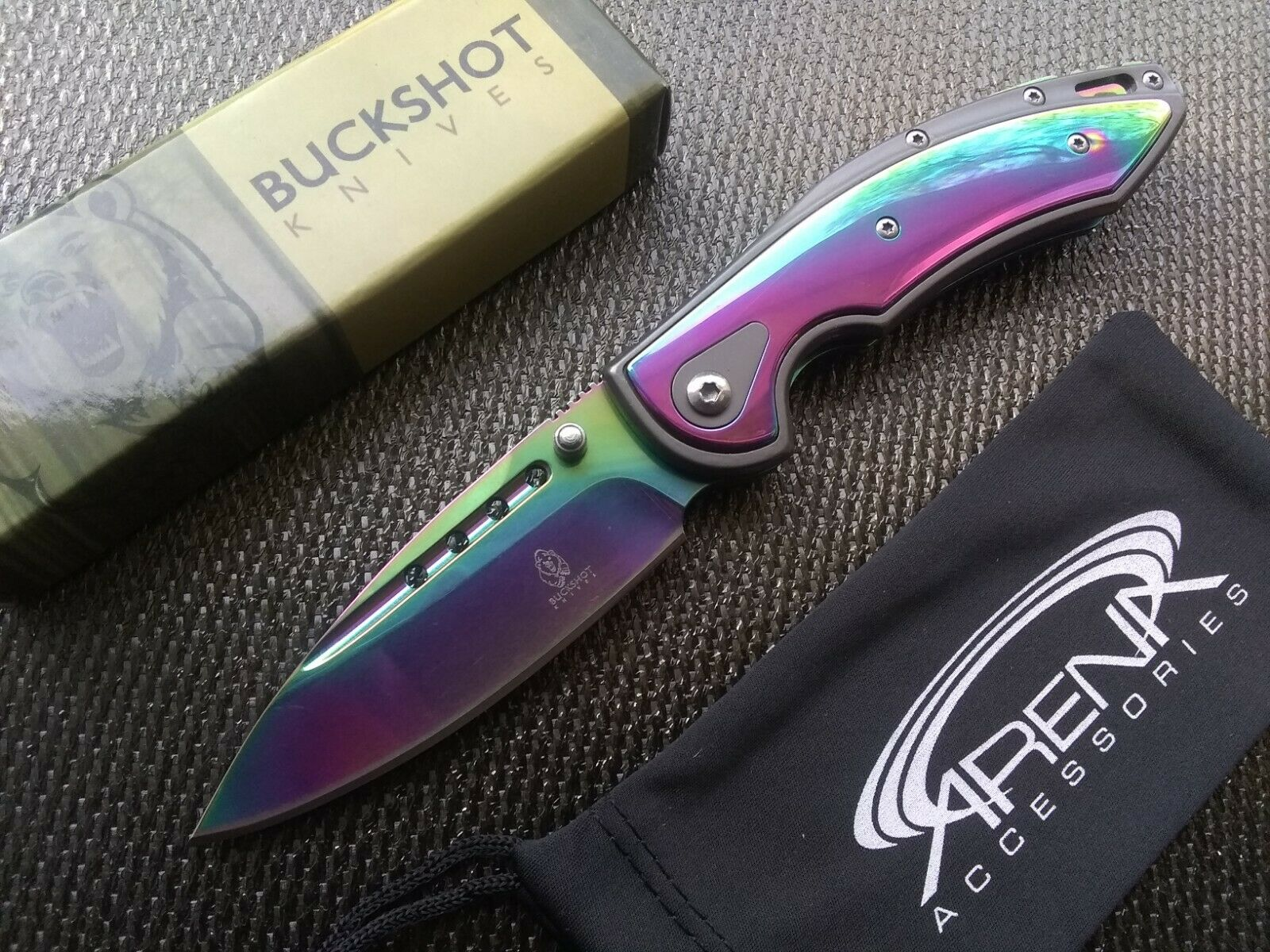 Rainbow Pocket Knife Spring Assist Open Blood Groove Blade Dual Thumbstuds EDC
