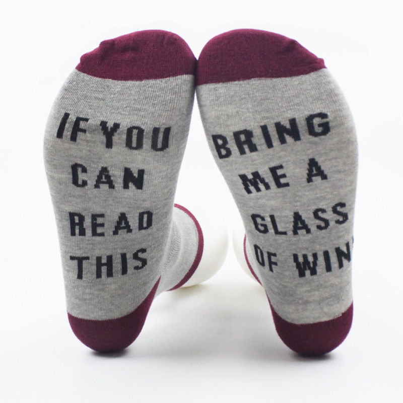 IF YOU CAN READ THIS BRING ME A GLASS OF WINE Women's Socks Unisex Funny Gag Gift