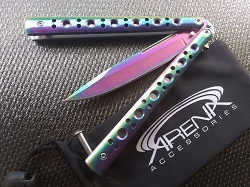 Rainbow Titanium Balisong Butterfly Knife with Heavy Duty Skeletonized Handle Scales Great Quality
