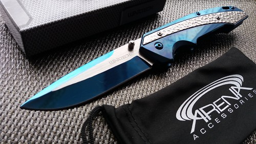 Blue Titanium Hammered Pocket Knife Spring Assist Blade LinerLock Thumb Stud EDC