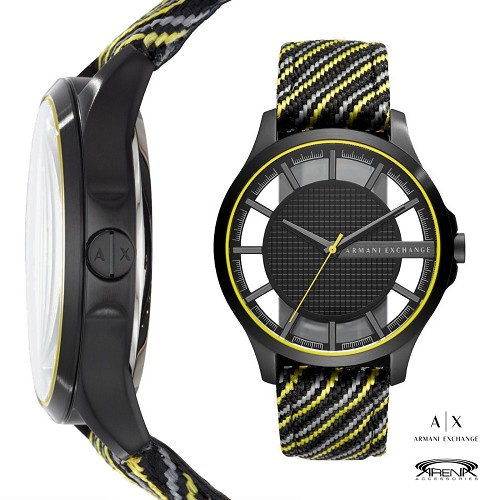 Armani Exchange AX2402 Men Watch Leather&Knit Stripe Strap Black Yellow Skeletal