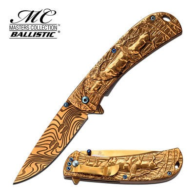 Gentlemen Damascus Pocket Knife Elk Hunter Gold Spring Assisted Fancy 3.5
