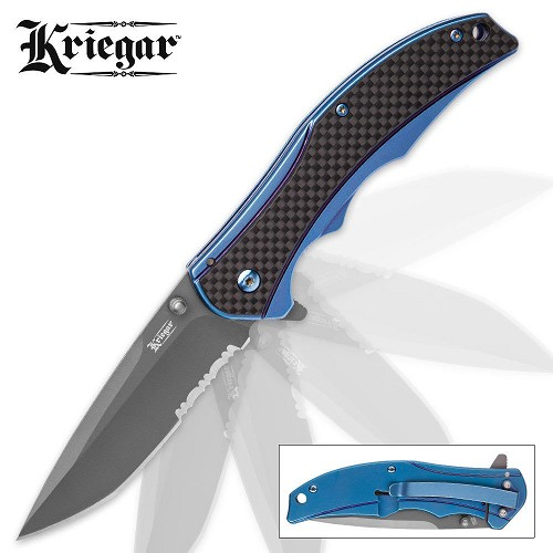 Kriegar Aeon Pocket Knife REAL Genuine Carbon Fiber Scale Spring Assist Blue EDC