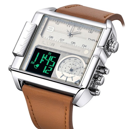6.11 Retro Style Quartz Watch Square Mens Leather Dual LCD Digital Analog 3 Zone