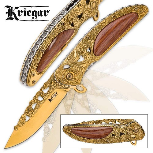 Kriegar Gold Chrome Fancy Pocket Knife Wood Handle Scrollwork Assisted Open EDC