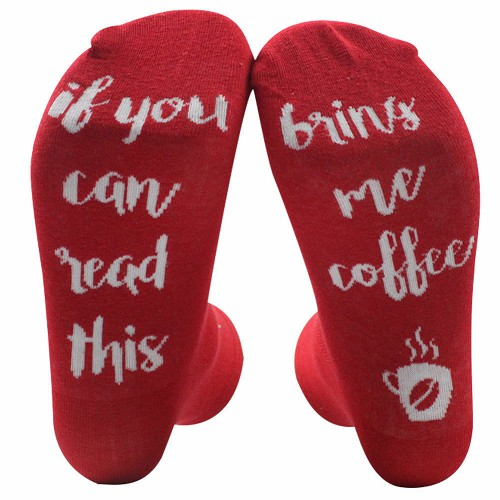 IF YOU CAN READ THIS BRING ME COFFEE Socks Funny Gag Gift Unisex Red White Java