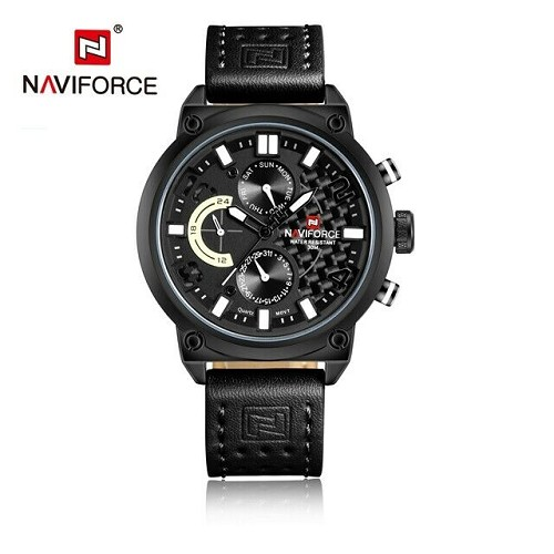 Naviforce Men Leather Japan SEIKO Quartz Mvmt Watch REAL Carbon Fiber Face 9068L