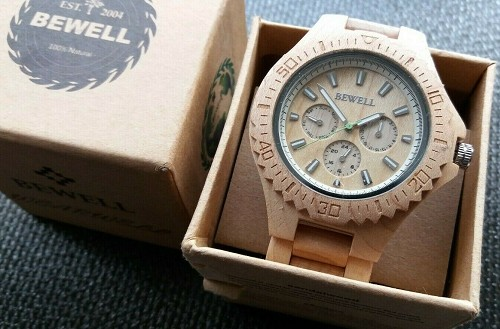 BeWell Wooden Watches w/ Japan Mvmt Triple Sub-dial Natural Wood Watch Men Women